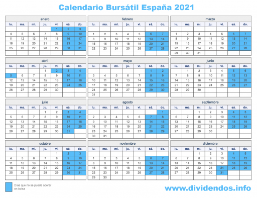calendario bursátil 2021 españa